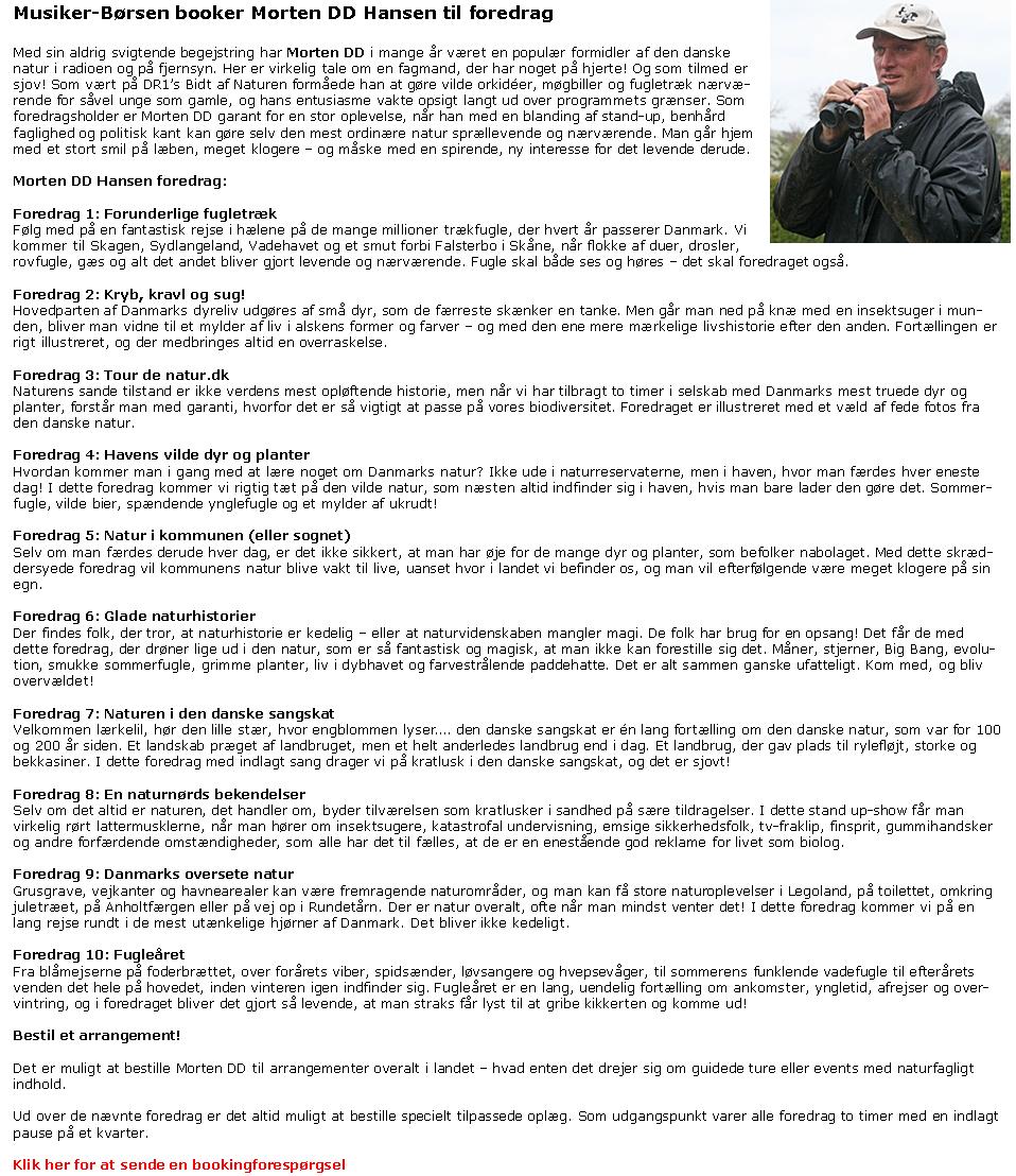 Morten DD Hansen - naturvejleder - foredragsholder