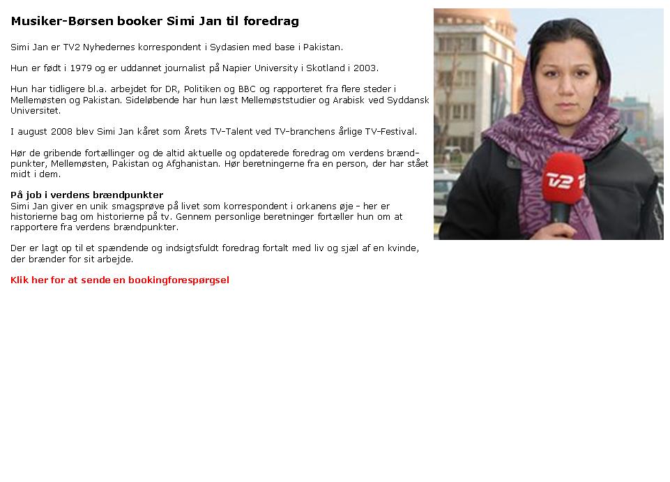 Simi Jan - udlandskorrespondent-foredrag - booking af Simi Jan