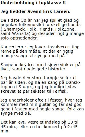 Svend Erik Larsen - folkemusik - sjove historier - booking