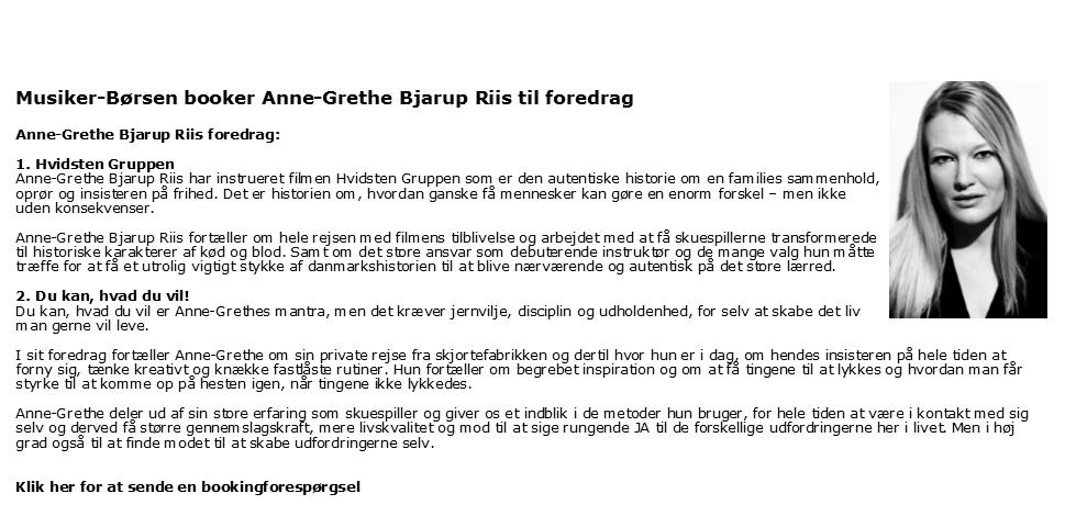 Anne-Grethe Bjarup Riis - foredragsholder - skuespillerinde - filminstruktør - Anne-Grethe Bjarup Riis