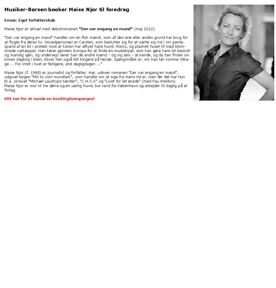 Maise Njor - foredrag - ej mundlam forfatter Maise Njor