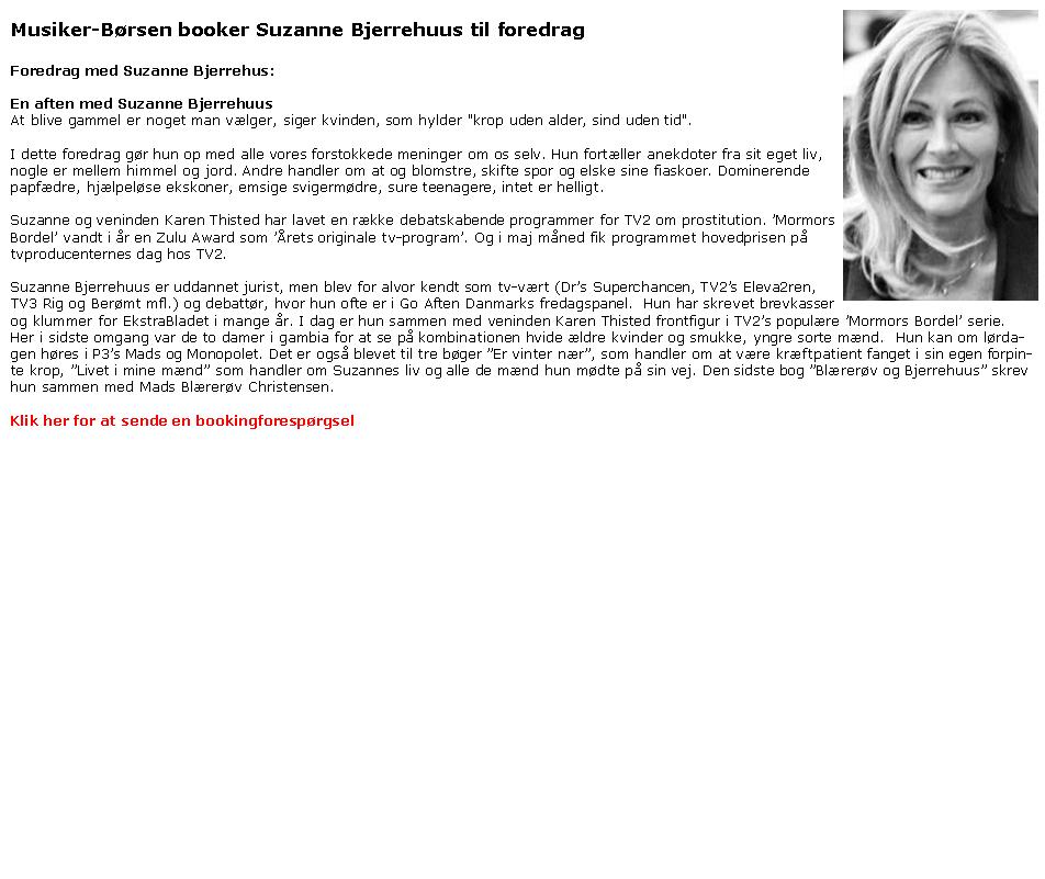 Suzanne Bjerrehuus - foredrag - bedstemor - femme fatale - Suzanne Bjerrehus