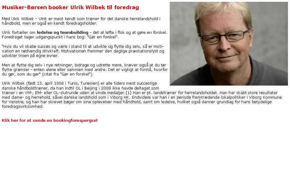 Ulrik Wilbek - ledelsesparallellerforedrag